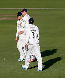 Freddie Coleman of Warwickshire (L) celebrates catching out Peter Trego of Somerset for 24 (b. Keith Barker) - Mandatory byline: Rogan Thomson/JMP - 07966 386802 - 22/09/2015 - CRICKET - The County Ground - Taunton, England - Somerset v Warwickshire - Day 1 - LV= County Championship Division One.