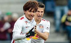 05.03.2016, Red Bull Arena, Salzburg, AUT, 1. FBL, FC Red Bull Salzburg vs SV Groedig, 26. Runde, im Bild Torjubel Red Bulls nach dem 2:0 durch Takumi Minamino (Red Bull Salzburg), Stefan Lainer (Red Bull Salzburg) // during Austrian Football Bundesliga 26th round Match between FC Red Bull Salzburg and SV Groedig at the Red Bull Arena, Salzburg, Austria on 2016/03/05. EXPA Pictures © 2016, PhotoCredit: EXPA/ JFK