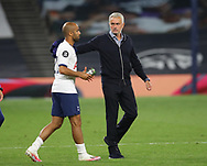 Jose Mourinho manager of Tottenham celebrates the win with Lucas Moura of Tottenham  during the Premier League match at the Tottenham Hotspur Stadium, London. Picture date: 23rd June 2020. Picture credit should read: David Klein/Sportimage
