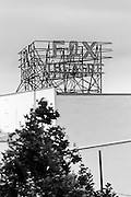 The new Fox Fullerton Marquee prepares to light for the first time. Downtown Fullerton. Black and White.