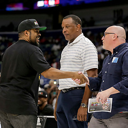 Aug 25, 2019; New Orleans, LA, USA; Ice T greets New Orleans Pelicans vice president of basketball operations David Griffin and head coach Alvin Gentry during the Big Three Playoffs at the Smoothie King Center. Mandatory Credit: Derick E. Hingle-USA TODAY Sports