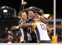 18 June 2013; Brumbies players, from left, Jesse Mogg, Matt Toomua, Henry Speight and Tevita Kuridrani, 13, celebrate their side's victory at the final whistle. British & Irish Lions Tour 2013, Brumbies v British & Irish Lions. Canberra Stadium, Bruce, Canberra, Australia. Picture credit: Stephen McCarthy / SPORTSFILE
