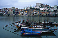 January 1998, Porto, Portugal --- Anchored Port Boats on the Duoro River --- Image by © Owen Franken/CORBIS
