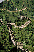 Serpentine Great Wall of China at Mutianyu. China.
