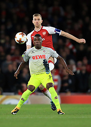 14 September 2017 -  UEFA Europa League (Group H) - Arsenal v FC Koln - Per Mertesacker of Arsenal in action with Jhon Cordoba of FC Koln - Photo: Marc Atkins/Offside