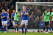 Ipswich Town midfielder Flynn Downes (21) shoots towards the goal and sees the ball go over during the EFL Sky Bet League 1 match between Ipswich Town and AFC Wimbledon at Portman Road, Ipswich, England on 20 August 2019.