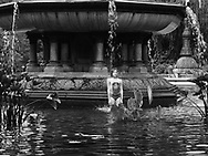 Heatwave in New York City with temperatures at 95&deg;F (35&deg;C)<br /> Bethesda Fountain, Central Park, New York City.