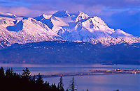Homer Spit in Kachemak Bay below the Kenai Mountains.  Alaska.