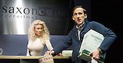 Saxon Court <br /> by Daniel Andersen <br /> at Southwark Playhouse, London, Great Britain <br /> press photocall <br /> 24th November 2014 <br /> <br /> <br /> <br /> <br /> <br /> <br /> Alice Franklin as Tash <br /> <br /> Adam Brown as Mervyn<br /> <br /> <br /> <br /> Photograph by Elliott Franks <br /> Image licensed to Elliott Franks Photography Services