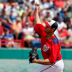 Mar 9, 2013; Melbourne, FL, USA; Washington Nationals pitcher Chris Young throws against the Miami Marlins during the top of the second inning of a spring training game at Space Coast Stadium. Mandatory Credit: Derick E. Hingle-USA TODAY Sports