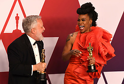 "Jay R. Hart and Hannah Beachler, winners of the Best Production Design Awards for ""Black PantherÓ at the 91st Annual Academy Awards (Oscars) presented by the Academy of Motion Picture Arts and Sciences.<br /> (Hollywood, CA, USA)"