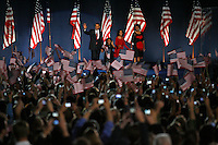 Barack Obama, left, greets the crowd with his family for the first time after being named as the President Elect for the United States of America at a rally at Chicago's Grant Park, Tuesday Nov. 4, 2008 Chicago IL.