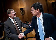 "Aug 3, 2010 - Washington, District of Columbia, U.S., - KENT CONRAD (D-ND) greets RICHARD BERNER, managing director and co-head of global economics and chief U.S. economist for Morgan Stanley & Co. Inc. before a Senate Budget Committee hearing on ""A Status Report on the U.S. Economy."".(Credit Image: © Pete Marovich/ZUMA Press)"