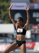 Jul 27, 2019; Des Moines, IA, USA; Tynita Butts celebrates after placing third in the women's high jump at 6-3 1/2 (1.92m) during the USATF Championships at Drake Stadium.