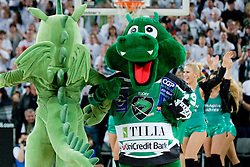 Union Olimpija (basket) dragon and HDD Tilia Olimpija (ice hockey) dragon Hoki during basketball match between KK Union Olimpija (SLO) and Power E. Valencia (SPA) in Group D of Turkish Airlines Euroleague, on November 17, 2010 in Arena Stozice, Ljubljana, Slovenia. (Photo By Matic Klansek Velej / Sportida.com)