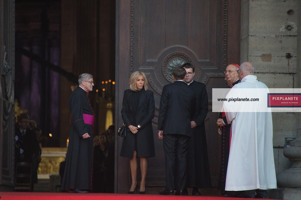Le Président de la République Française Emmanuel Macron _Brigitte Macron Obsèques de Jacques Chirac Lundi 30 Septembre 2019 église Saint Sulpice Paris