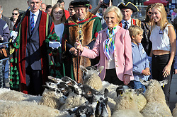 © Licensed to London News Pictures. 24/09/2017. London, UK. Mary Berry, celebrity TV baker and chef, leads the annual Sheep Drive of the Worshipful Company of Woolmen across London Bridge ahead of being made a Freeman of the City of London.  The event raises funds for the Lord Mayor's Appeal and the Woolmen's Charitable Trust. Photo credit : Stephen Chung/LNP