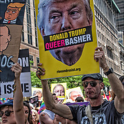 "Demonstrators holding sign ""Donald Trump Queer Basher"" during NYC Pride March."
