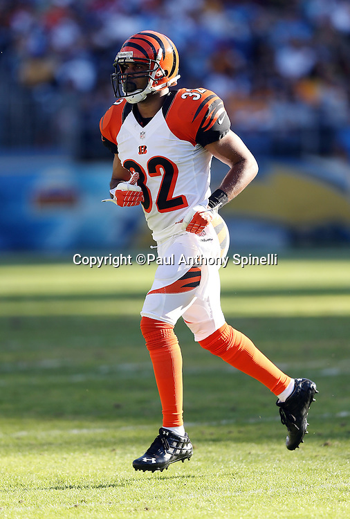 Cincinnati Bengals defensive back Chris Crocker (32) runs cross field during the NFL week 13 football game against the San Diego Chargers on Sunday, Dec. 1, 2013 in San Diego. The Bengals won the game 17-10. ©Paul Anthony Spinelli