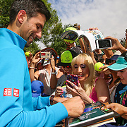 Novak Djokovic unveils champions mural at the Indian Wells Tennis Garden in Indian Wells, California Friday, March 11, 2016. (Photo by Billie Weiss/BNP Paribas Open)