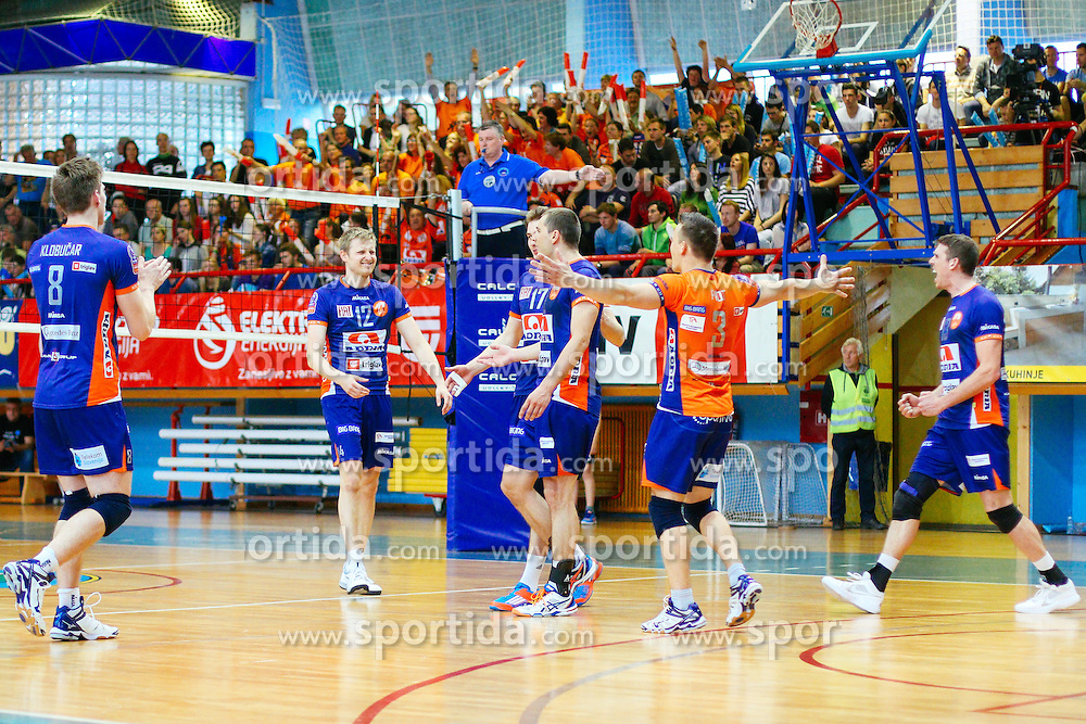 Players of ACH Volley celebrate during volleyball match between Calcit Volleyball and ACH Volley in Round #4 of Finals of 1. DOL Slovenian Championship 2014/15, on April 23, 2015 in Sportna Dvorana, Kamnik, Slovenia. Photo by Matic Klansek Velej / Sportida