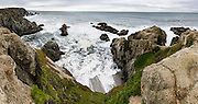 Bodega Head, Sonoma Coast State Park, Pacific Ocean, California, USA. The exposed continental granite of Bodega Head lies on the west side of the San Andreas Fault, but curiously, the mainland rocks immediately to the east are of oceanic origin from the Franciscan Complex. Bodega Head is the northern tip of the Salinian Block, a geologic province whose core was born along with the Sierra Nevada Mountains. As tectonic forces created the San Andreas Fault 20 million years ago, the Salinian Block was torn off the continent, carrying Bodega Head northward hundreds of miles. The panorama was stitched from 7 overlapping photos.