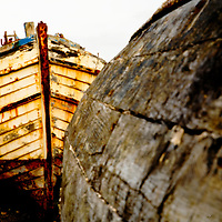 Galway, Ireland, boat, boats, wreck, paint, peeling, flaking, sun, evening, colour, color, contrast, abstract,