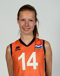 13-05-2014 NED: Selectie Nederlands volleybal team mannen, Arnhem<br /> Op Papendal werd het Nederlands team volleybal seizoen 2014-2015 gepresenteerd / Alinda Dersjant
