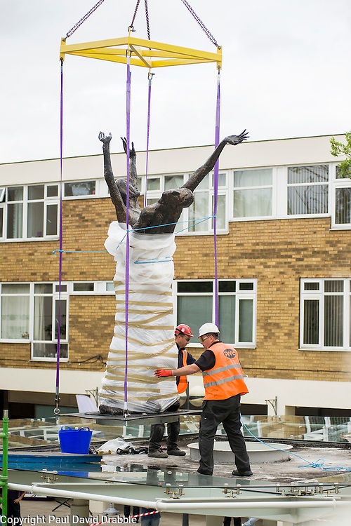 A risqu&eacute; statue of two naked, embracing lovers which caused outrage in 1967 when first erected in Doncaster&rsquo;s Arndale shopping centre, found a new home in Doncasters Waterdale Shopping Centre on Friday afternoon (June 19 2015). St. Modwen Properties a British-based property investment and development business that specialises in regenerating urban areas, discovered the statue in storage and in need of repair after purchasing Waterdale in 2013. Constructed from fibreglass and damaged during years in storage St. Modwen got together with Artfuel, a local art group and restored the artwork. Doncasters &lsquo;Lovers&rsquo; sculpture returned in all it&rsquo;s glory to public view, almost 30 years after it disappeared. It now stands on a soon to be flood lit glass canopy in the Waterdale Shopping Centre close to the Staff Of Life public house.<br /> <br /> 19 June 2016<br /> Image Copyright Paul David Drabble<br /> www.pauldaviddrabble.co.uk