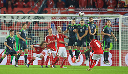 VIENNA, AUSTRIA - Thursday, October 6, 2016: Wales' Gareth Bale, Sam Vokes, Joe Ledley and Andy King defend a free-kick from Austria's David Alaba during the 2018 FIFA World Cup Qualifying Group D match at the Ernst-Happel-Stadion. (Pic by David Rawcliffe/Propaganda)