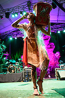 Spirit  of the Hornbill Dayak Dance Academy performing at the Bali Spirit Festival, Ubud, Bali, Indonesia, 3/4/2015.