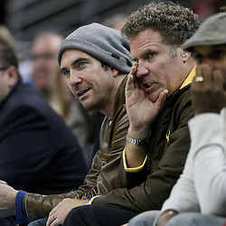 February 8, 2012; New Orleans, LA, USA; Actors Dylan McDermott, Will Ferrell watch courtside during the fourth quarter of a game between the New Orleans Hornets and the Chicago Bulls at the New Orleans Arena.   Mandatory Credit: Derick E. Hingle-US PRESSWIRE