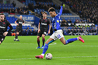 Football - 2019 / 2020 Emirates FA Cup - Fourth Round, Replay: Cardiff City vs. Reading<br /> <br /> Josh Murphy of Cardiff shoots at goal at the Cardiff City Stadium.<br /> <br /> COLORSPORT/WINSTON BYNORTH