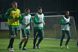 04.01.2012, Trainingsgelaende, Belek, TUR, 1.FBL, Trainingslager Werder Bremen 2012, im Bild: Sebastian Prödl/ Proedl (Bremen #15) Claudio Pizarro (Bremen #24) Marko Arnautovic (Bremen #7) mit Pudelmuetze Wesley (Bremen #5) // during trainingscamp on 2012/01/04,  Trainingsgelaende, Belek, Tuerkey. EXPA Pictures © 2012, PhotoCredit: EXPA/ nph/ Kokenge..***** ATTENTION - OUT OF GER, CRO *****