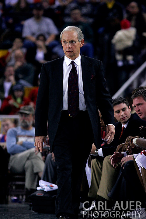 26 November 2005: USC Gamecock head coach, Dave Odom, in the South Carolina Gamecock overtime loss, 89-92 to the Golden Eagles of Marquette in the final game of the Great Alaska Shootout in Anchorage, Alaska