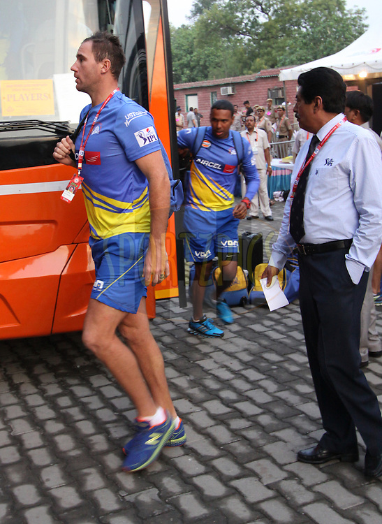 John Hastings of The Chennai Superkings arrive before  match 26 of the Pepsi Indian Premier League Season 2014 between the Delhi Daredevils and the Chennai Superkings held at the Ferozeshah Kotla cricket stadium, Delhi, India on the 5th May  2014<br /> <br /> Photo by Arjun Panwar / IPL / SPORTZPICS<br /> <br /> <br /> <br /> Image use subject to terms and conditions which can be found here:  http://sportzpics.photoshelter.com/gallery/Pepsi-IPL-Image-terms-and-conditions/G00004VW1IVJ.gB0/C0000TScjhBM6ikg