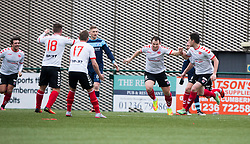 Clyde's David Gormley (9) cele scoring their second goal. Clyde 2 v 2 Forfar Athletic, Scottish League Two game played 4/3/2017 at Clyde's home ground, Broadwood Stadium, Cumbernauld.