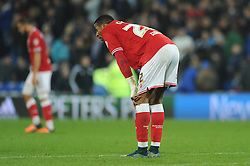Jonathan Kodjia of Bristol City cuts a dejected figure at the end of the game - Mandatory byline: Dougie Allward/JMP - 07966 386802 - 26/10/2015 - FOOTBALL - Cardiff City Stadium - Cardiff, Wales - Cardiff City v Bristol City - Sky Bet Championship