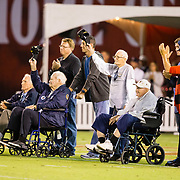 12 October 2018: During a break in the action four World War II Army Air Corp B-24 bomber pilots and gunners were recognized. The San Diego State Aztecs lead 14-9 at the half against the Air Force Falcons at SDCCU Stadium Friday night.