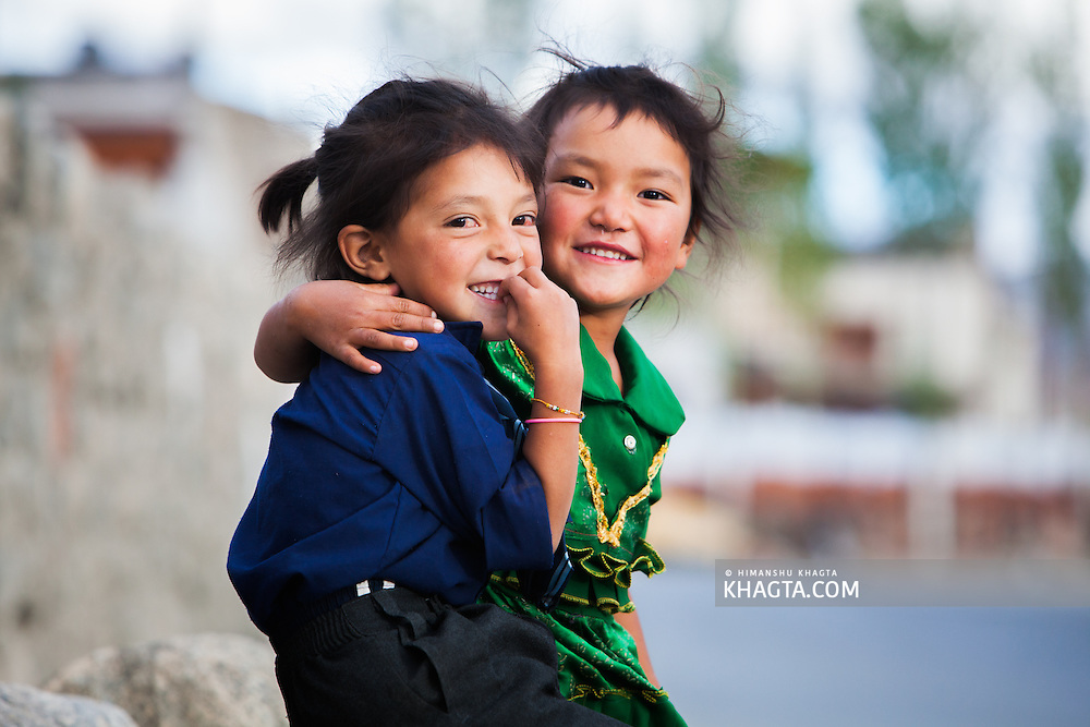 Naughty kids from Thiksey village of Ladakh playing and having a gala time together.