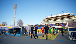 SOFIA, BULGARIA - Wednesday, November 26, 2014: PFC Ludogorets Razgrad and Liverpool players walk out before the UEFA Youth League Group B match at the Georgi Asparuhov Stadium. (Pic by David Rawcliffe/Propaganda)