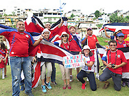 Fans of Costa Rica at the stadium prior to the 2014 FIFA World Cup match at the Itaipava Arena Fonte Nova, Nazare, Bahia<br /> Picture by Stefano Gnech/Focus Images Ltd +39 333 1641678<br /> 05/07/2014
