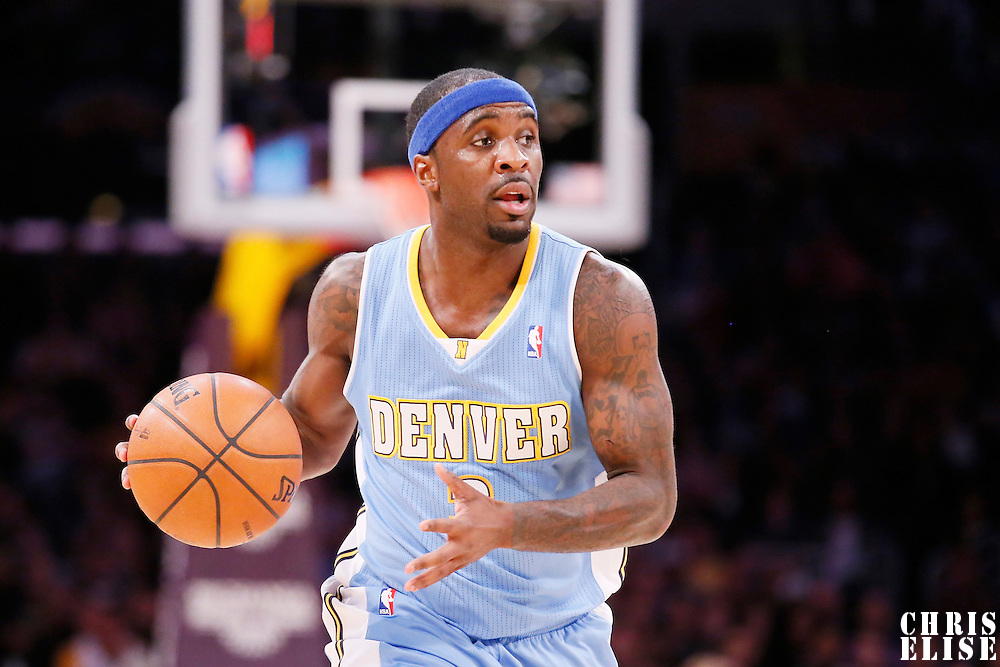 05 January 2014: Denver Nuggets point guard Ty Lawson (3) brings the ball upcourt during the Denver Nuggets  137-115 victory over the Los Angeles Lakers at the Staples Center, Los Angeles, California, USA.