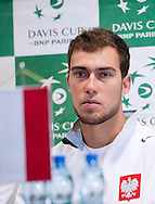 Jerzy Janowicz of Poland while press conference three days before the BNP Paribas Davis Cup 2013 between Poland and South Africa at MOSiR Hall in Zielona Gora on April 02, 2013...Poland, Zielona Gora, April 02, 2013..Picture also available in RAW (NEF) or TIFF format on special request...For editorial use only. Any commercial or promotional use requires permission...Photo by © Adam Nurkiewicz / Mediasport