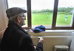 Jim McMamamon watches on from the  Burrischoole club rooms at the Intermediate championship match against Hollymount on saturday evening last.<br /> Pic Conor McKeown