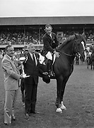 "08/08/1987<br /> 08/08/1987<br /> 08 August 1987<br /> RDS Horse Show, Ballsbridge, Dublin. The Irish Trophy - Grand Prix of Ireland. Albert Reynolds T.D. (left) with Frank O'Reilly, President of the RDS, presents the Irish Trophy to Paul Darragh on ""Carroll's Trigger""."