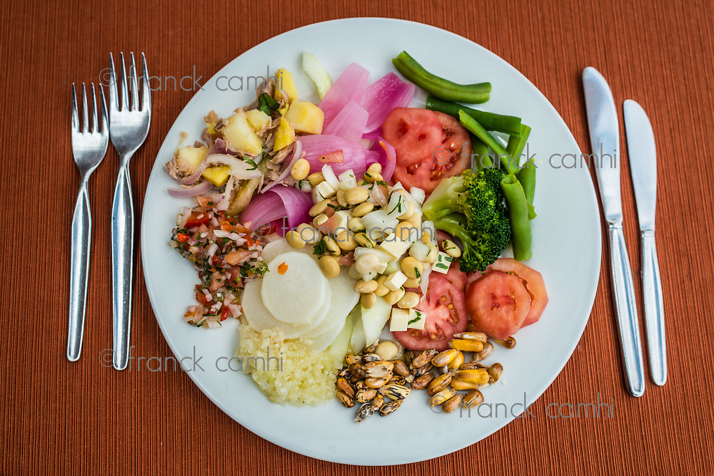 vegetables dish in the peruvian Andes at Cuzco Peru