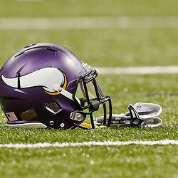 Sep 21, 2014; New Orleans, LA, USA; A Minnesota Vikings helmet on the field before a game against the New Orleans Saints at Mercedes-Benz Superdome. Mandatory Credit: Derick E. Hingle-USA TODAY Sports