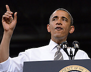 US President Barack Obama addresses students and supporters at the Coors Events Center in Boulder, Colorado 24 April, 2012. The President continued his campaign to push congress to pass legislation to avoid raising of interest rates on student loans.