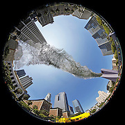 "August 8, 2016  •  Los Angeles, CA  •  Pershing Square downtown with a  ""Liquid Shard"" installation by Poetic Kinetics  •  the wind moved mylar strips up & down, back & forth, constant movement  •  8mm f5.6 Canon lens"